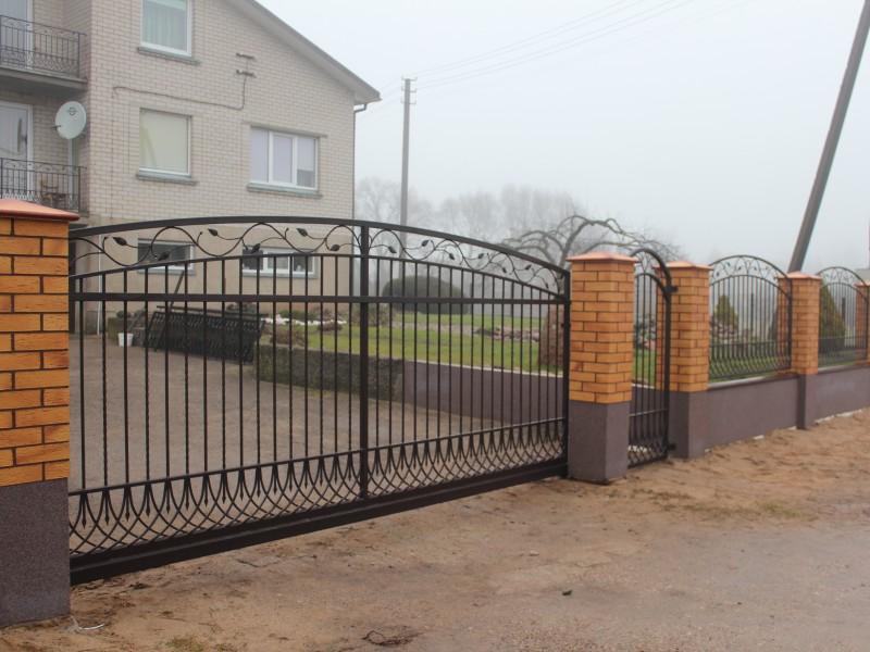 Metaliniai juodi dvigubi vartai su lapeliu akcentais Midama